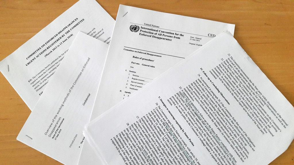 Meine erste Sitzung des UN Ausschusses gegen Verschwindenlassen - Unterlagen