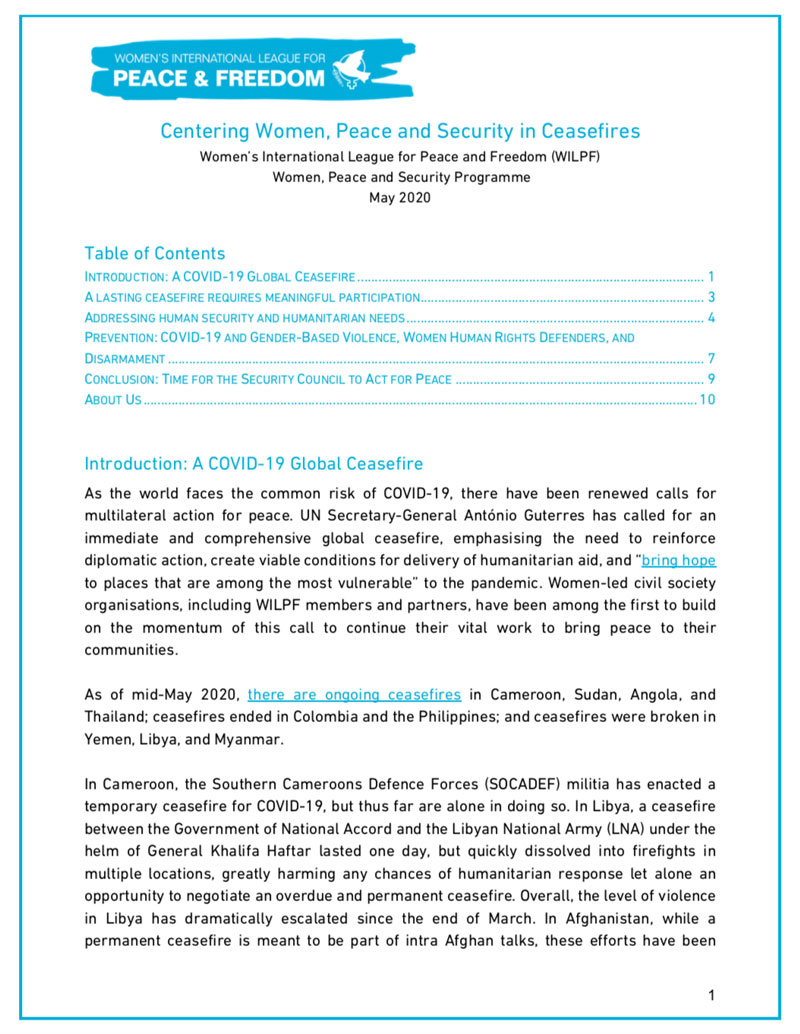WILPF: Centering Women, Peace and Security in Ceasefires